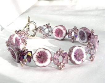 Bracelet glass heart silver 18.5 cm hawaiian purple amethyst purple Swarovski Crystal
