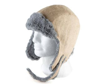 "Upcycling Aviator hat ""Café Doppio"" (winter hat from coffee sack) subject: plain (size: L)"