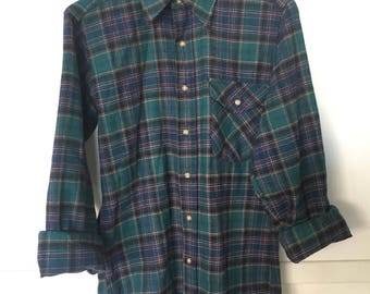 Vintage Pendleton Wool Flannel Shirt with Elbow Patches