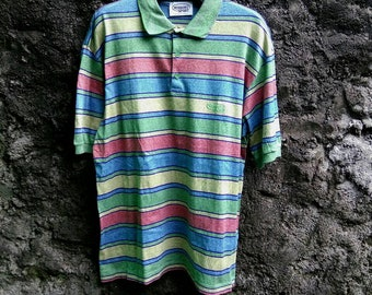 Vintage 90s MISSONI SPORT Stripe Multicolor Polo Shirt. Made in Italy. Mens Medium