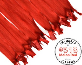 "Invisible Zippers - #518 Melon Red - 8"" 10"" 12"" 14"" 16"" 18"" 20"" 22"" 25"" (10pcs)"