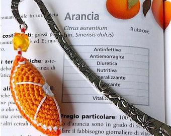 Bookmark hook with orange clove amigurumi