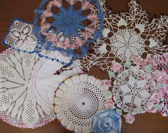 9 Hand Crocheted Doilies - Colors