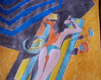 drawing woman lying on the sand
