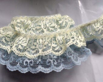 Ruffled Lace Combo, 2 inch wide 2 row of ruffles Maize/Williamsburg color