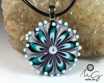 Murano glass pendant, mandalas collection. Lampwork Beads. Handmade by MALAKAGLASS