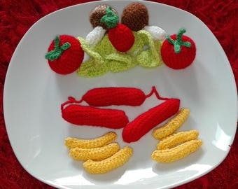 Sausages with French fries and salad - self crochet