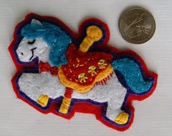 Eco-Felt Hand Sewn Carousel Horse Pin