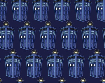 Stretchy Dr Who Tardis Cotton Knit fabric