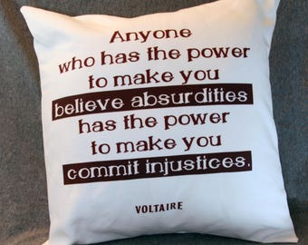 Atheist Voltaire Throw Pillow Cover
