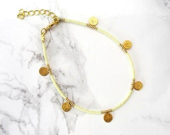 Coins anklet bracelet, beaded anklet, bohemian anklet, minimalist beach anklet, dainty delicate jewelry, coins jewelry, foot jewerly for her