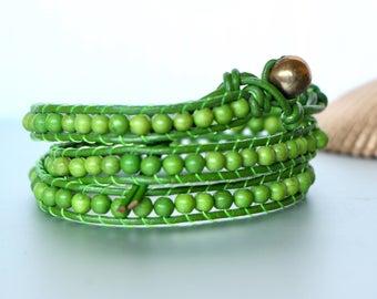 Triple Wrap Bracelet, Green Beads Bracelet, Boho Bracelet, Beach Jewelry, Beaded Necklace, Wrap Anklet, Casual Beaded Jewelry,(A/B9)