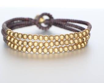 Three Strings with Brass Beads Bracelet, Unisex Bracelet, Bohemian Wrist Band, Woven Bracelet, Beach Bracelet, Casual Bracelet B51