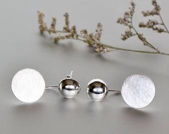 Sterling Silver Ear Jacket, Silver Earrings, Silver Ear Studs, Bohemian Earrings, Stocking Stuffers, Round Earrings, Pretty Ear Studs (E125)