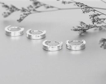 Silver Ear Hoops, Minimal Silver Hoops, Sterling Silver Hoops, Piercing Hoops, Silver Earrings, Gift Ear Hoops  (E132)
