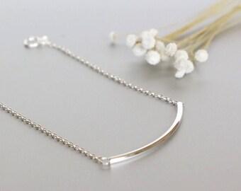 Silver Bracelet, Silver Tube Bracelet, Minimalist Silver Bracelet, Delicate Bracelet, Gift Bracelet, Wrist Chain BS46