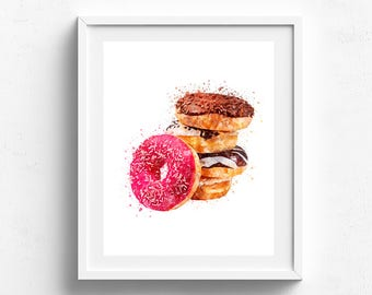 Donut poster, donut art, kitchen art, food art, donut painting, kitchen wall art, bakery art, donut watercolor, pink donut art, foodie art