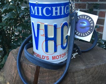 Little Earth Michigan LICENSE PLATE Handbag Barrel Purse Canister w/ Tag