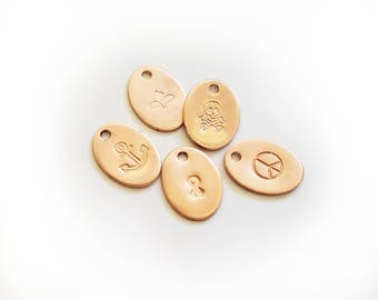 Jewelry Tags - Copper Oval Handstamped Custom Logo Jewelry Design Branding