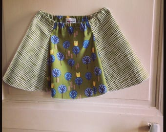 Spring/summer clothes - girls skirt Agatha - green and ecru printed animals and forest