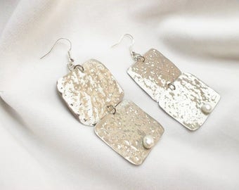 Handmade large impressive silver plated earrings in silver with pearl