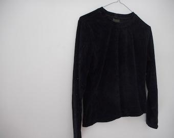 90s Velvet Floral Pullover Sweater/Jumper Top