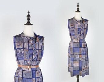 Square Print Bow Collar Sleeveless Navy Vintage Women Dress Size M