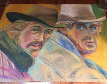 OOAK Robert Redford and Paul Newman Butch Cassidy and the Sundance Kid pastel drawing