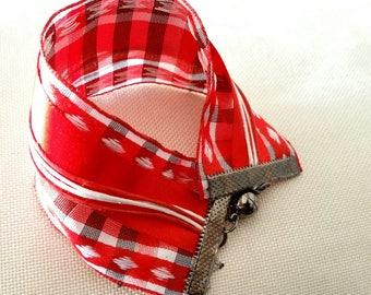 a multi strand Ribbon cuff bracelet