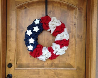 Labor Day Wreath, Fourth of July Wreath, Burlap Wreath, Red White and Blue, Patriotic Wreath, Summer Wreath