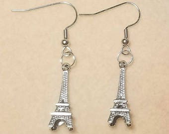 Eiffel Tower Paris Silver-Tone Dangle Drop Earrings,  French, Gifts for Her, Gifts for Mom.