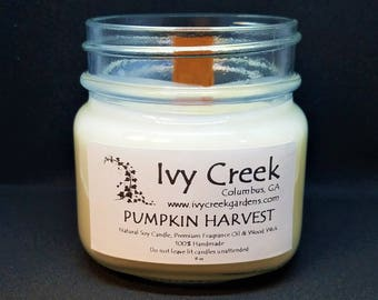 Pumpkin Harvest Candle, Pumpkin Harvest, Natural Candle, Wood Wick Candle, Crackle Candle, Soy Candle, Wood Wick Candle, Gifts for Her, Fall