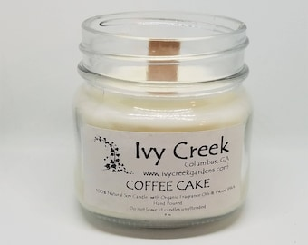 Coffee Cake Candle, Coffee Cake, Coffee, Natural Candle, Wood Wick Candle, Crackle Candle, Soy Candle, Wood Wick Candle, Gifts for Her, Fall