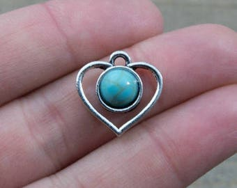 1 PIECE heart pendant with turquoise imitation cabochon, heart pendant, bohemian pendant, turquoise and silver pendant B0083842
