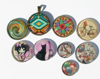 different themes 18 and 25 mm glass cabochons