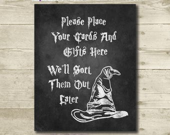 Harry Potter Wedding // Cards and Gifts Sign // Harry Potter Bridal Shower // 8 x 10 // Printable // Harry Potter Birthday // Chalkboard