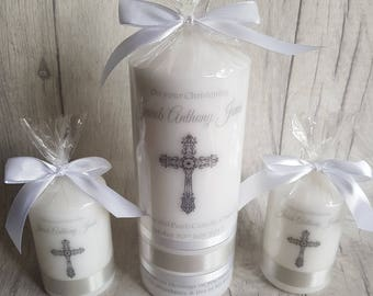 baptism, christening candle set, hand printed