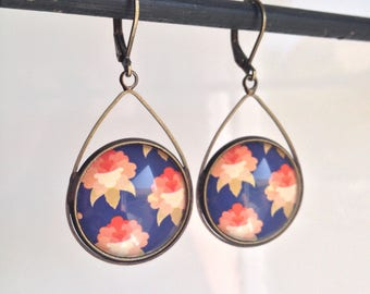 Cabochons - Japanese-inspired drop dangling earrings