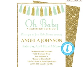 Mint and Gold Baby Shower Invitation, Baby Shower Invitation Template, Gender Neutral Baby Shower, Printable, Oh Baby Invites Tassels, TASMG