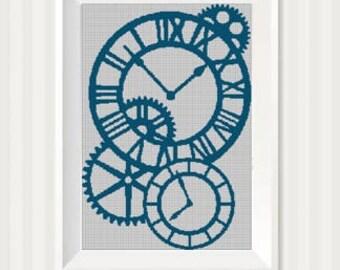 Clocks silhouette cross stitch pattern in pdf