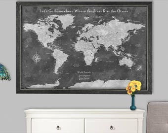Canvas world map etsy world travel map canvas world map poster push pin wedding travel gift couples world map canvas gumiabroncs Choice Image
