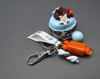 Polymer clay blue macaron bag charm