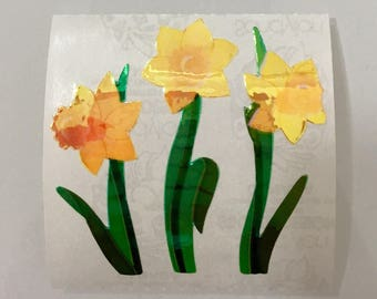 Vintage Rare Sandylion Pearl Yellow Daffodil Stickers