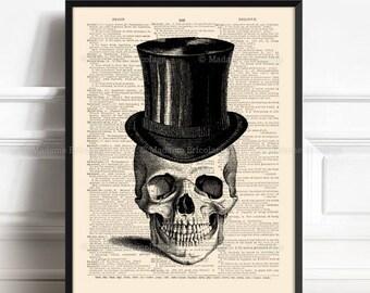 Victorian Skull Art, Skull Art Gift, Gifts For Him, Sugar Skull Decor, Xmas Poster Gift, Hers Gift Print, Anatomy Gift Poster, Top Hat  135