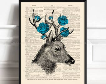 Deer Roses Antlers, Stag Home Decor, Gift For Him, Deer Silhouette Art Father Xmas Gift Her 20th Birthday Nursery Print Deer Grandfather 373