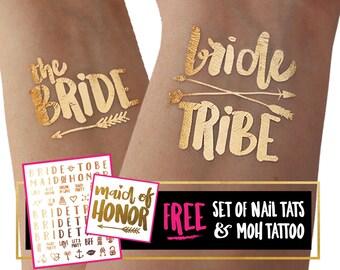 Bride Tribe Tattoo / Bride tattoo / bachelorette party tattoo gold foil / hen night tattoo