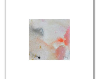 """Pink, Orange, Watercolor Painting, 4""""x4"""", Abstract Original Painting, Abstract Art, Abstract Painting, Modern Decor, Acrylic Painting, Gift"""