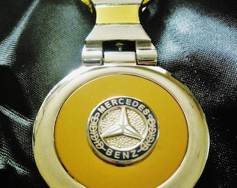 Mercedes Benz 18K Gold Keychain with Silver Trim-Free Engraving