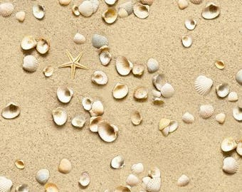 Sand Landscape from Elizabeth Studio quilting cotton fabric by the yard metre 555E-SAND beach sea shells