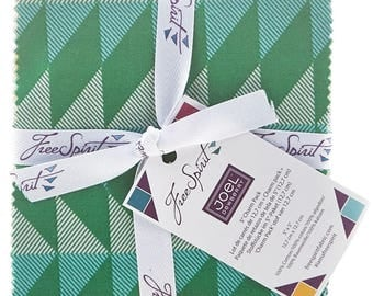 "Joel Dewberry Modernist 5"" Charm Pack FB6CPJD.42016 -42 5"" squares quilting cotton freespirit precut floral green yellow"